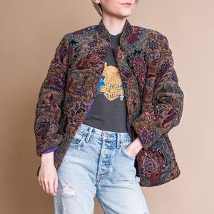 Vintage 80s paisley floral lurex quilted jacket